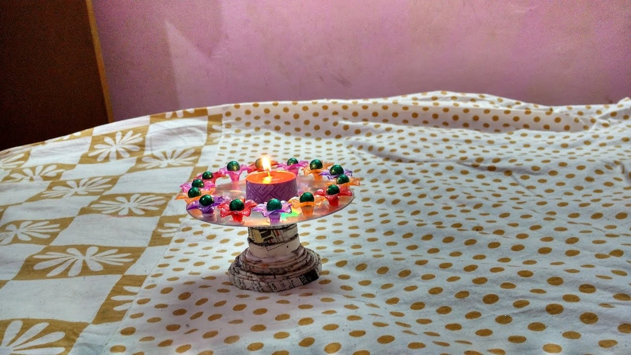 CD candle stand with newspaper Best out of waste. |  DIY || art with neha ||