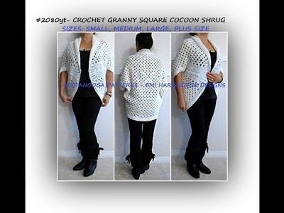 CROCHET GRANNY SQUARE cocoon shrug cardigan sweater - Small - Plus size,  FREE pattern, #2080yt