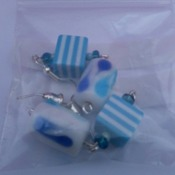 Cube and Teardrop Earrings in Zesty Blue - Great Value, Great Fun