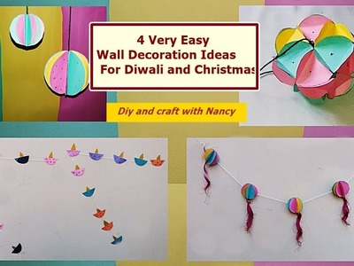 DIY-  4 Very Easy Wall Decoration Ideas For Diwali and Christmas