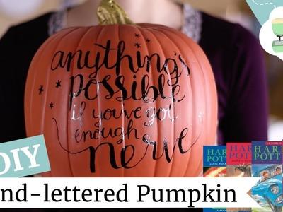 DIY Harry Potter Pumpkin | Hand-lettered Halloween Decor | @laurenfairwx