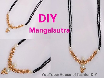 DIY || How To Make Mangalsuthra With Black Beads||Latest Model.