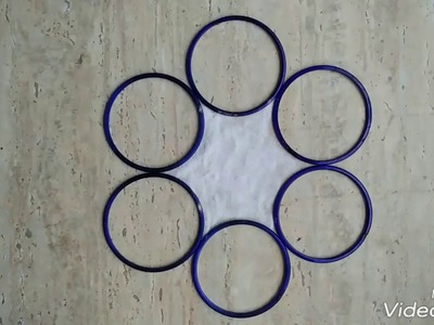 Easy rangoli for beginners using bangles and matchstick