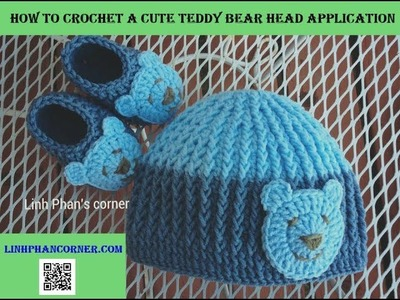 How to crochet a cute Teddy Bear head application || Hướng dẫn móc hình gấu