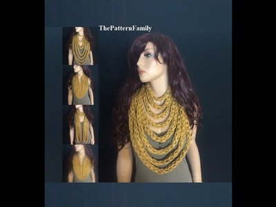 How to Finger Knit a Infinity Rope Scarf.Necklace Pattern #55│by ThePatternfamily