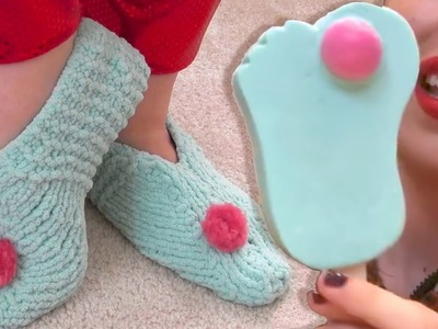 How to Knit SLIPPERS | Froze Toes Miranda Sings Haters Back Off DIY Craft