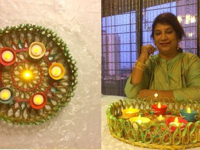 How to Make Newspaper Diya Thali | Diwali Special