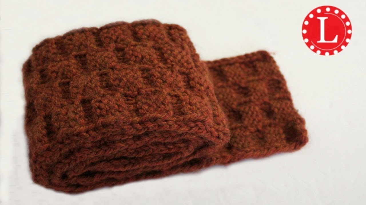 Loom Knit Scarf On Round Loom With Basket Weave Stitch Pattern Step