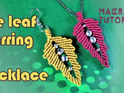 Macrame leaf tutorial: The earring and necklace leaf pattern with beads - Simple and easy