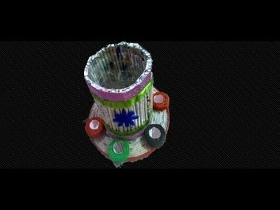 MOBILE stand using newspaper and plastic bottle, || DIY || art with neha ||