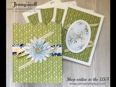 Notecard set for a gift box using Stampin Up products with Jenny Hall