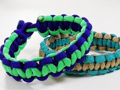 Paracord Bracelet: Two Color Solomon Bar Design Without Buckle