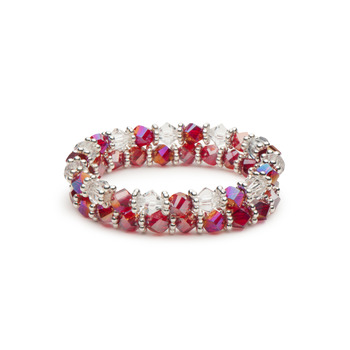 Ruby Red Beads and Clear Bicones Stretch Bracelet Combination