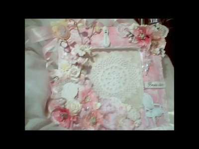 Shabby Vintage Altered Frame in Pink and White