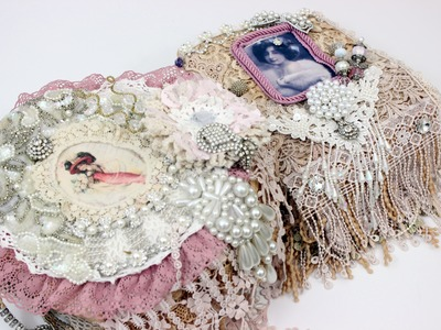 Shabby Wedding Romantic Lace Books & Brooch Bonquet