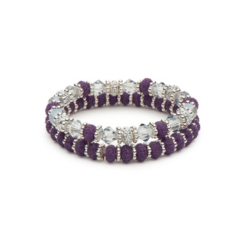 Sparkling Purple Rondelles and Crystal Bicones Stretch Bracelet Combination