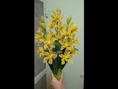 กล้วยไม้ แกรมมาโต how to make stocking,nylon flower(grammatophyllum orchid)