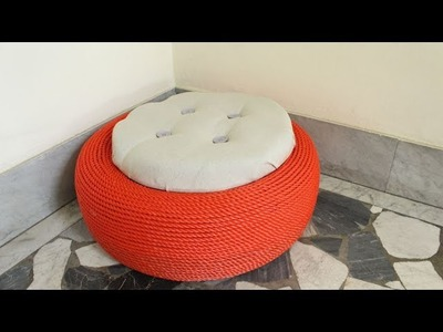 Turn a discarded tire into a cute outdoor storage stool