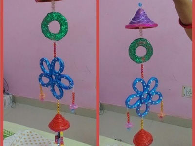Wind chimes with newspaper Best out of waste. DIY || art with neha 57 ||