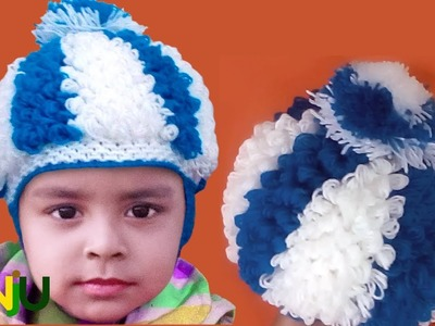 Adorable knitting curly wig cap of 2017 | Curly woollen Hat | Knitting Two colour cap design