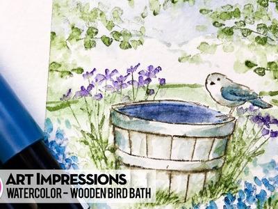Ai Watercolor - Wooden Bird Bath