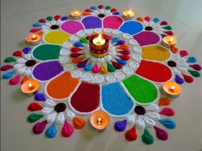 Colourful and innovative Diwali special rangoli design