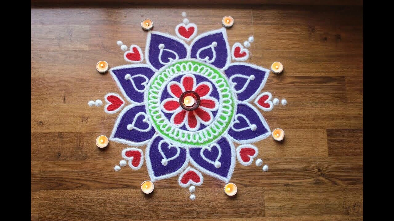 Creative, Simple and quick freehand flower rangoli design ...