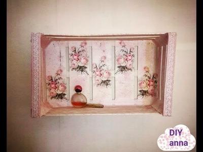 Decoupage shabby chic shelves DIY vintage ideas decorations craft tutorial