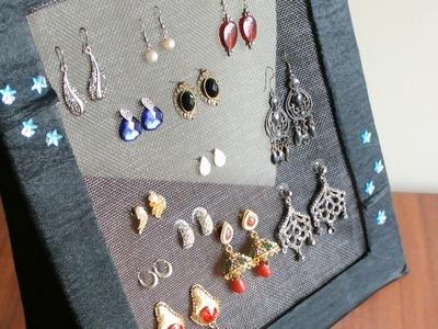 DIY Jewelry organizer - Earring holder