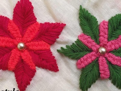 Flower hand embroidery | Fushion stitch for flower | Keya's craze hand embroidery-17