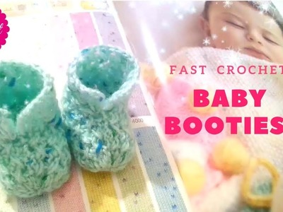 How to Crochet a Baby Booties #1 Fast for #beginners Baby Shower Set|☕ The Crochet Shop