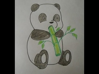 How to Draw a Cartoon Panda Baby:  easy drawing step by step for kids