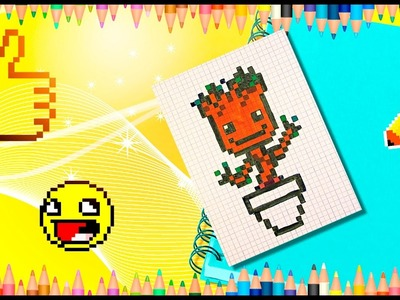 How to Draw Baby Groot from Guardians of the Galaxy 2? Pixel Groot