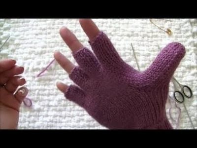How to make convertible mittens - fingerless gloves tutorial part 2 (marking the thumb row)