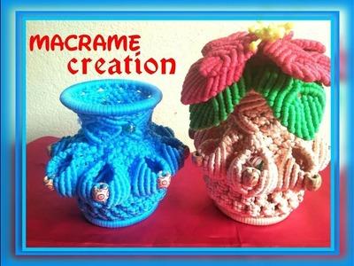 How to make macrame flower vase.pot tutorial in hindi part -1