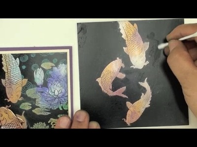 Local King Rubber Stamp Tutorial #64 How to make koi fish pop on black glossy cardstock