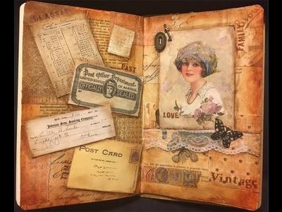 #NovDailyArtJournal - 'Vintage' Mixed Media Art Journal Page