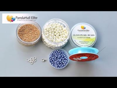 Pandahall Elite Design   blue pearl beads bracelet with golden beads mixed