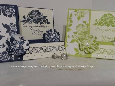 Stair step wedding card using floral phrases stampin up