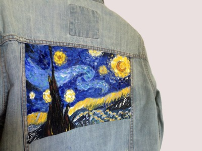 Van Gogh's Starry Night Painting on Denim Jacket