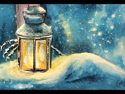 Watercolor and White Gouache Lantern covered in Snow Painting Demonstration