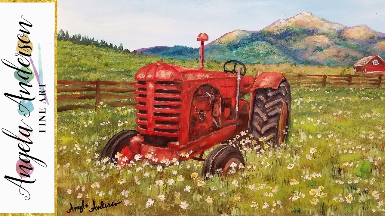 Acrylic Painting Tutorial: Rustic Country Tractor Landscape LIVE Step by Step Lesson