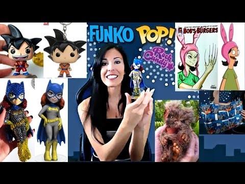 Custom Funko Pop Mini, Crystal Rock Candy, Bob's Burger's Sketch Cover, Ewok Creature, Batman Purse