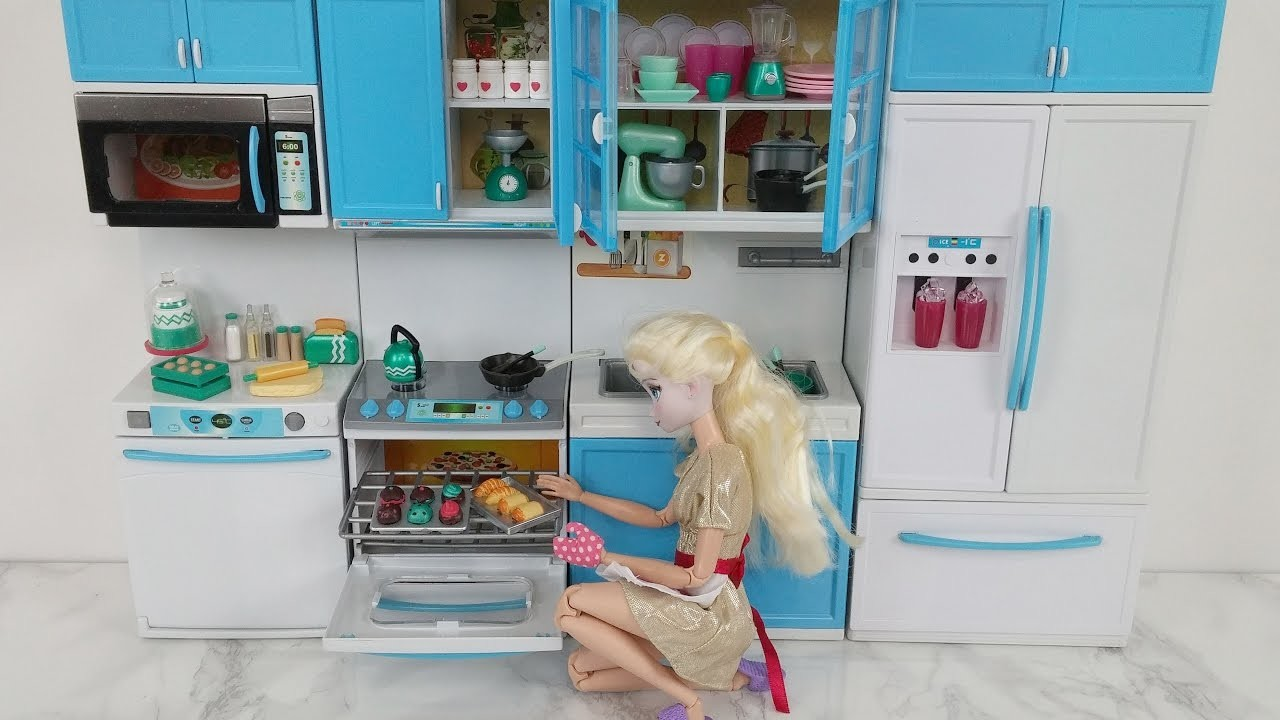 Disney Princess Elsa Kitchen Barbie Toy doll Kitchen set LORI MIX ...