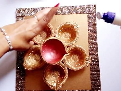 Diwali decor ideas   diya painting DIY   diya platter