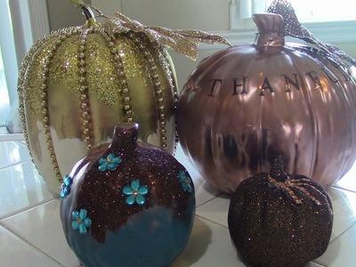 DIY Glam Pumpkins.DIY Pumpkin Decor.DIY Fall Decor