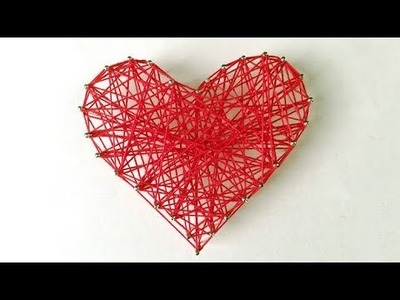 DIY ROOM DECOR! Easy Crafts Ideas at Home 2017 -  HEART STRING ART #24