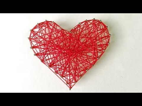DIY ROOM DECOR! Easy Crafts Ideas at Home 2017 -  HEART STRING ART #24