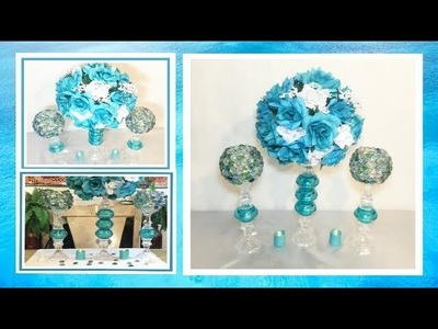 DIY Turquoise and White Floral Wedding Centerpiece. Lighted Candle Holders. Simply Easy #11
