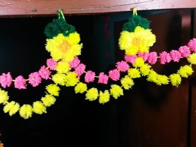 DIY Woolen Wind Chime | How to Make Mini Yarn Pom Poms For Home Decoration | Door Hanging Toran